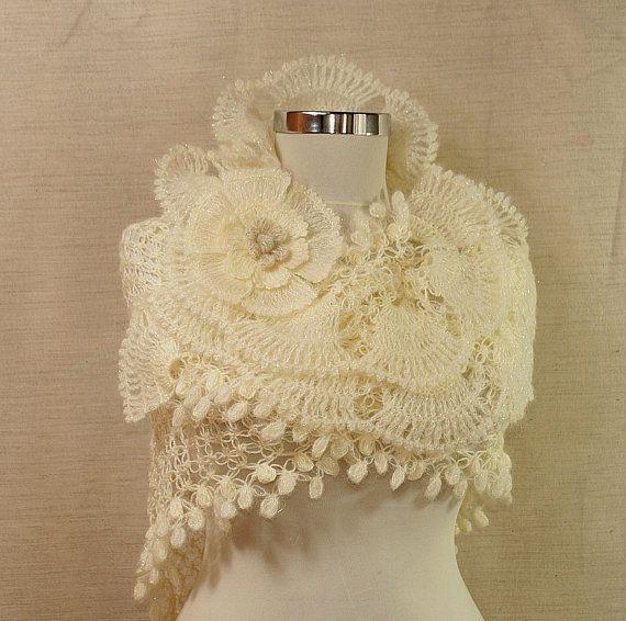 Ivory Crochet Ruffle Lace Shawl
