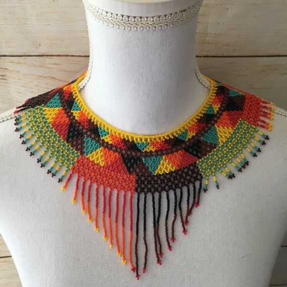 Handmade Womens Mexican Bead Necklace Huichol Folk Art Boho Jewelry Gift for Her