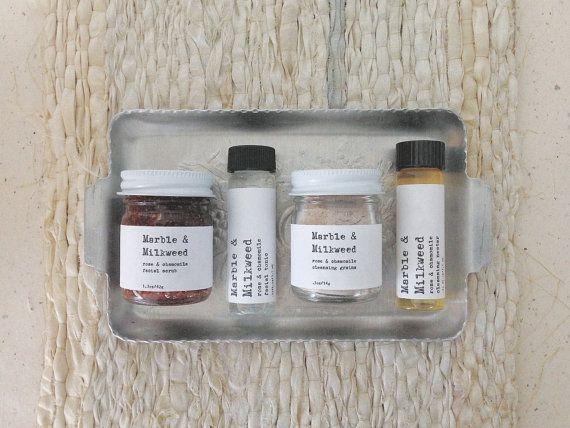 MINI Rose & Chamomile Facial Set  sample set by MarbleandMilkweed, $24.00