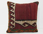 24x24 kilim pillow 24x24 red throw pillow red euro sham red decorative pillow red pillow cover red pillow case red cushion cover retro 25517