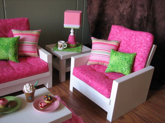 18 quot  doll furniture american girl sized living room 4 piece living room furniture set 4 piece fabric living room set