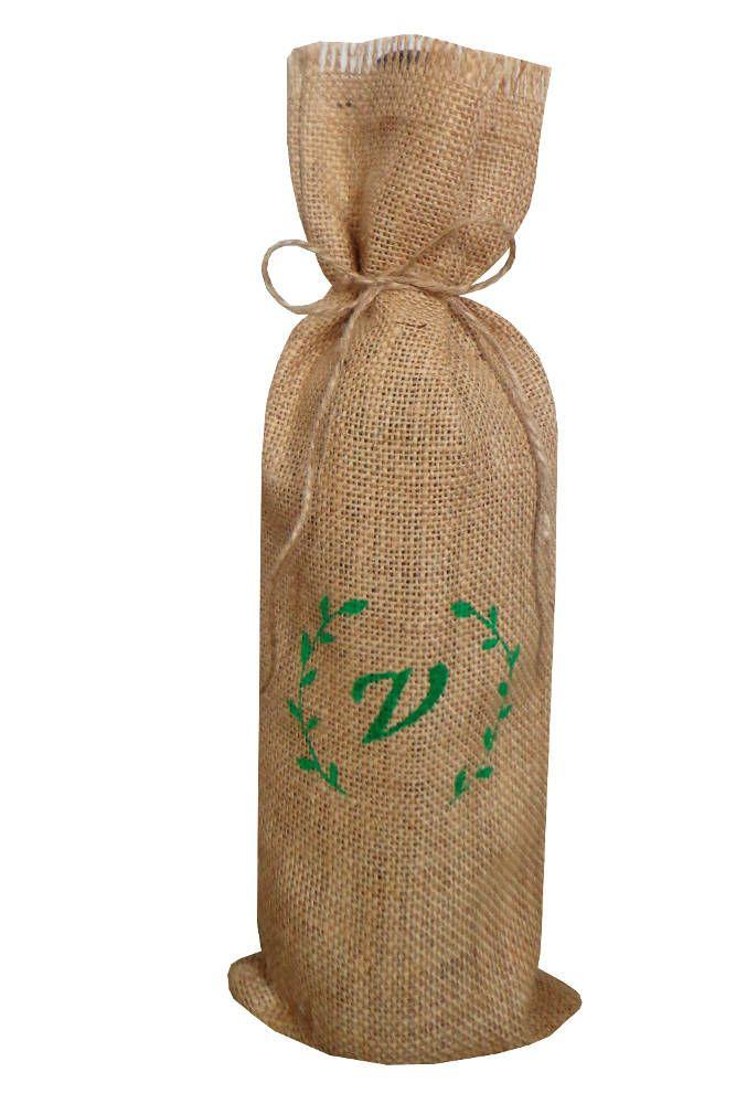 Sacos para botellas con monograma personalizado bolsa de yute para botella de vino bolsa de arpillera personalizada para botellas de Holaweddings en Etsy