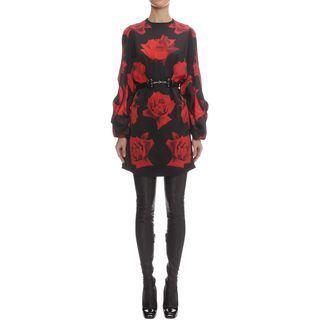 ALEXANDER MCQUEEN, Mini Dress, Heavy Satin Rose Printed Mini Dress