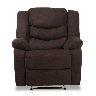 Baxton Studio Lynette Modern/Contemporary Fabric Power Recliner Chair Godiva Brown - U1294X-GODIVA-RECLINER