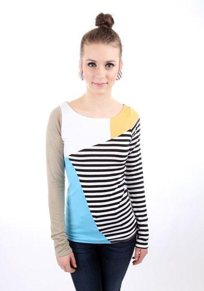 """Longsleeves - MEKO """"Puzzle"""" Shirt Damen Türkis Streifen langarm - ein Designerstück von meko bei DaWanda"""
