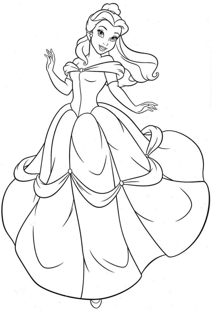 Co coloring book pages princess - Belle Princess Coloring Pages