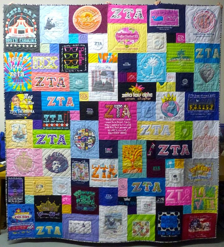 My mom made me a tshirt quilt like this but with all my sports shirts from grade school through my pro career. Best gift ever!