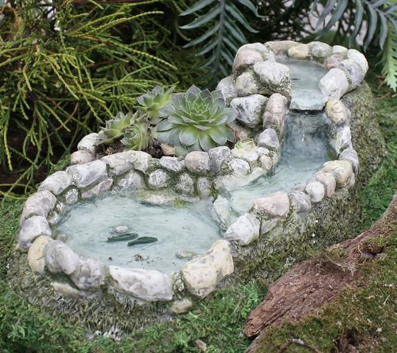 Amazing Fairy Garden Working Waterfall And Pond That Doubles As A Planter This Miniature Water Hole Incl Miniature Fairy Gardens Garden Waterfall Fairy Garden