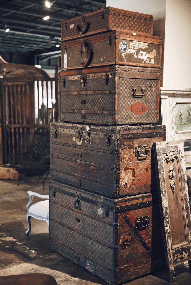 A beautiful stack. Vintage Louis Vuitton steamer trunks piled high in our Houston location. Georgia Brown Home by BD Antiques. http://www.bdantiques.com/ - leather handbags uk, patent leather handbags, discount designer handbags *ad