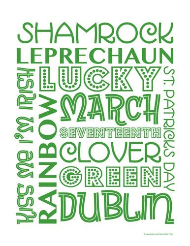 St. Patrick's Day words in various fonts form a block ...