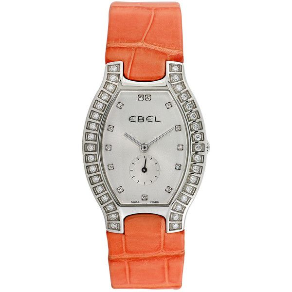 Ebel 2000 Women's Beluga Watch Diamond Watch (€1.505) ❤ liked on Polyvore featuring jewelry, watches, jewelry & watches, nocolor, wide watches, quartz movement watches, pre owned watches, preowned watches and leather-strap watches