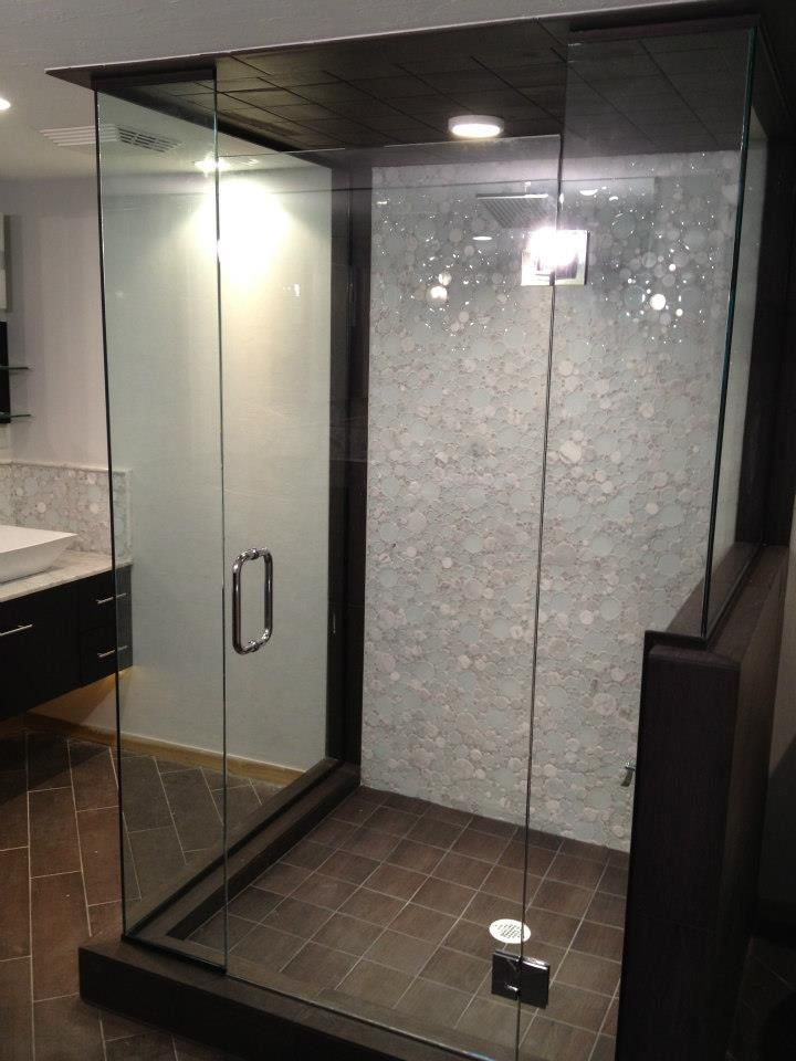 Stand up shower with a glass tiles to make anew pinterest Bathroom remodel ideas with stand up shower