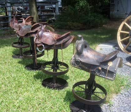 horse saddle bar stools | Farm - Blacksmithing, Rustic furniture, Bar stools, Butcher ...