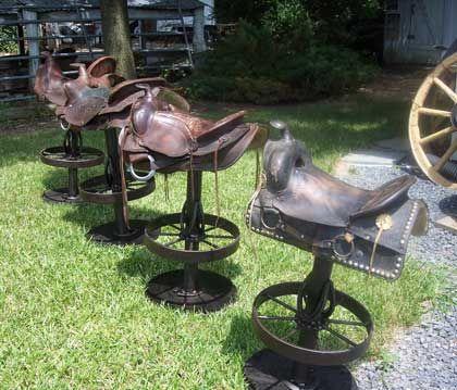 horse saddle bar stools   Farm - Blacksmithing, Rustic furniture, Bar stools, Butcher ...