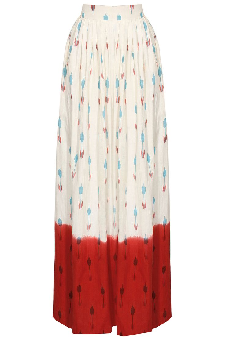 Off-white and red dip dye ikat skirt by Ka-Sha. Shop now: http://www.perniaspopupshop.com/designers/ka-sha #skirt #kasha #shopnow #perniaspopupshop