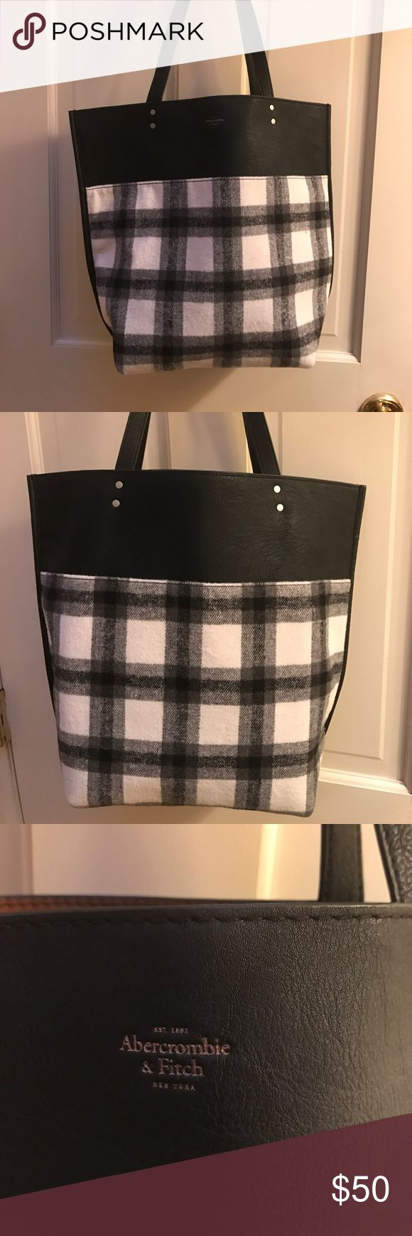 Tote leather/plaid Brand new Abercrombie and fitch bag, never used, reversible leather or plaid bag! Perfect for school or travel! Accepting offers:) Abercrombie & Fitch Bags Totes