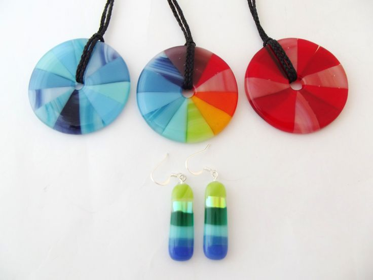 Variations on the colour wheel pendant and colour band earrings,  www.lustregallery.co.nz