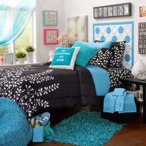 Black And White Bedroom With Teal Accents
