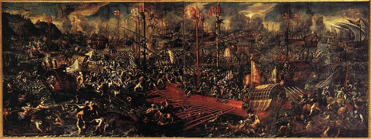7.10.1571.Battle of Lepanto.1595- 1605.by Andrea Vicentino (c.1600, Doge's Palace,Venice)