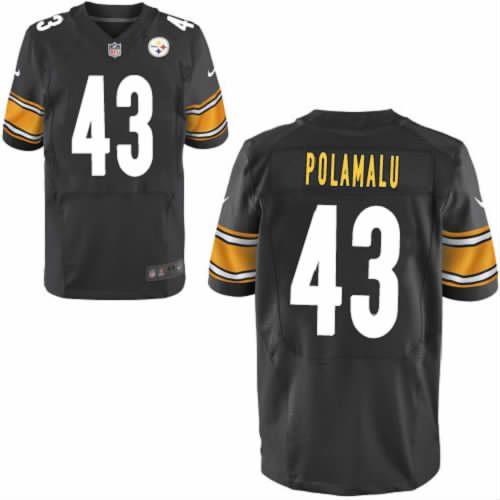 Troy Polamalu Pittsburgh Steelers #43 Elite Black Men Nike NFL Jersey Sale