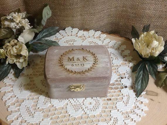 Boîte de porteur d'anneau rustique boîte à par KottageInspirations