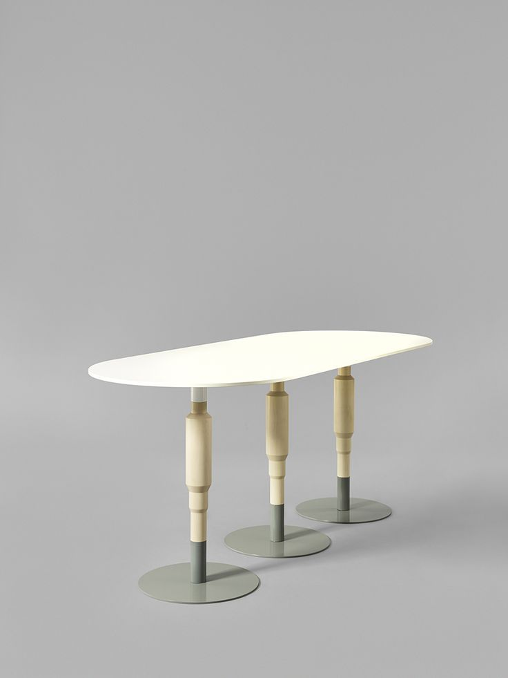 Minus tio - Cosmos 3X 730mm wood pedestal table in clear lacquered birch with grey base