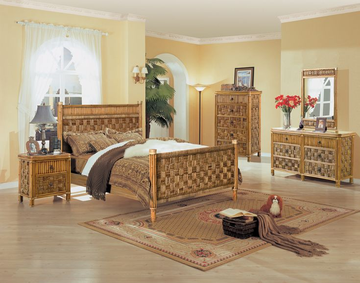 B635 Tahiti 4 Pc Natural Wicker And Rattan Bedroom Set By Seawinds Trading