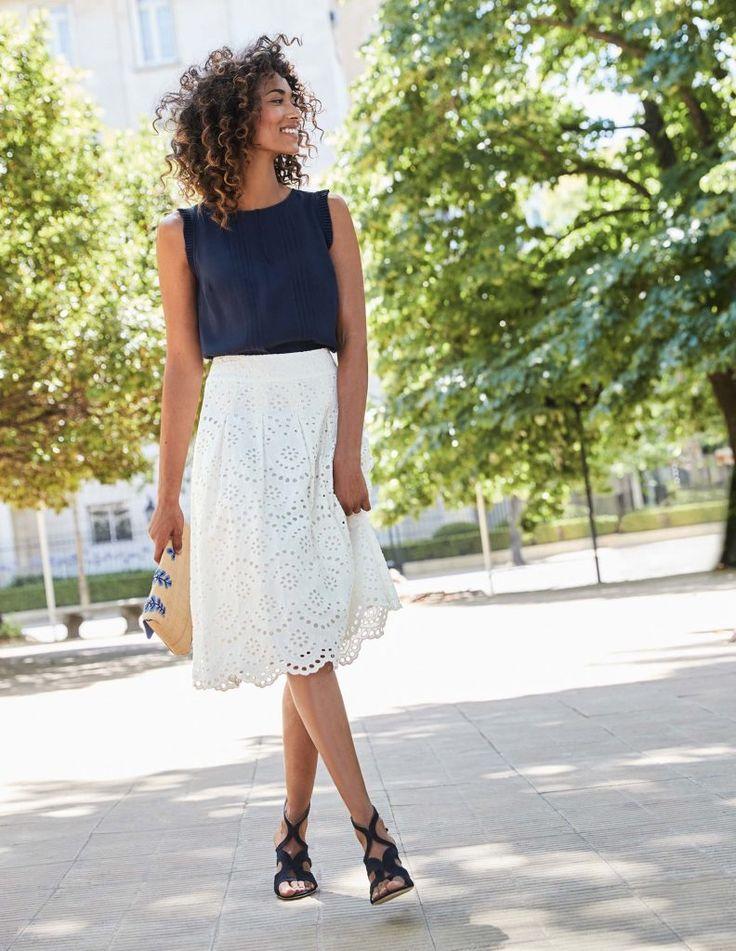 Eyelet Skirt with Scallop Hem