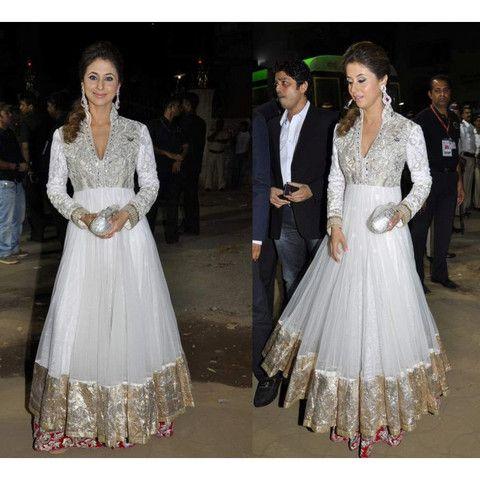 Sexy Urmila White Bollywood Anarkali Suit | Veeshack Shop