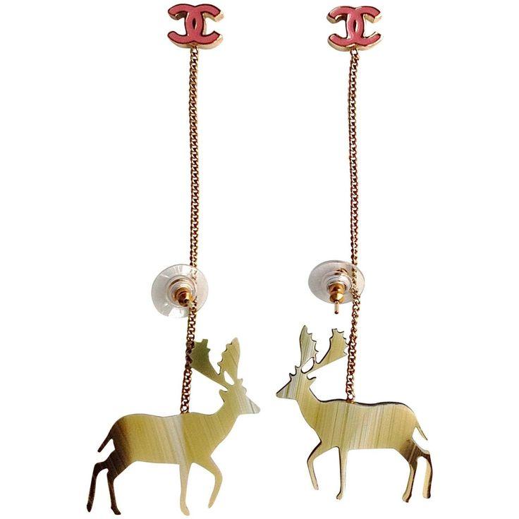 RARE Vintage Chanel ✿*゚ * SO CUTE * Handmade Resin Reindeer Long Drop Earring