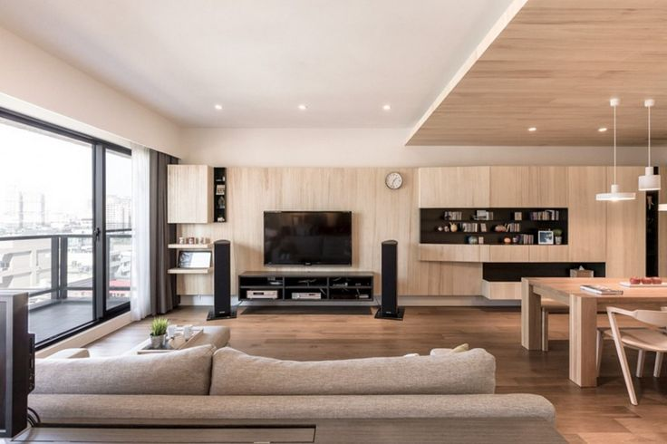 Apartment: Light Wood Paneling Mixed With Wooden Ceiling Also Stylish White Lighting Fixtures And Wooden Dining Set Also Fabric Sofas And Floating Black TV Cabinet Also Sliding Glass Door With Grey Curtains Ideas: A Modern Apartment Celebrates the Look of Natural Wood