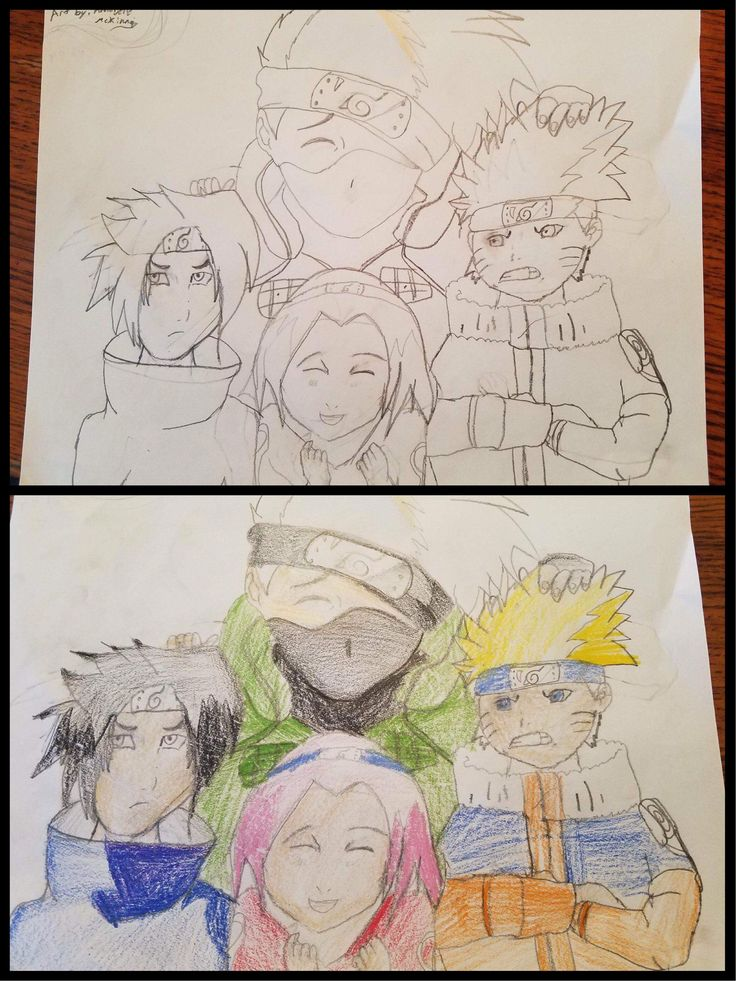 My eleven year old little sister usually likes to draw dragons but today I asked her to try a naruto theme for the first time. She did an amazing job