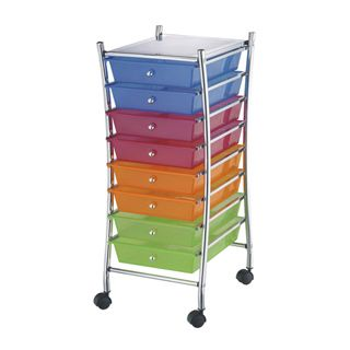 Product darice rolling craft storage cart with 8 drawers for Rolling craft cart with drawers