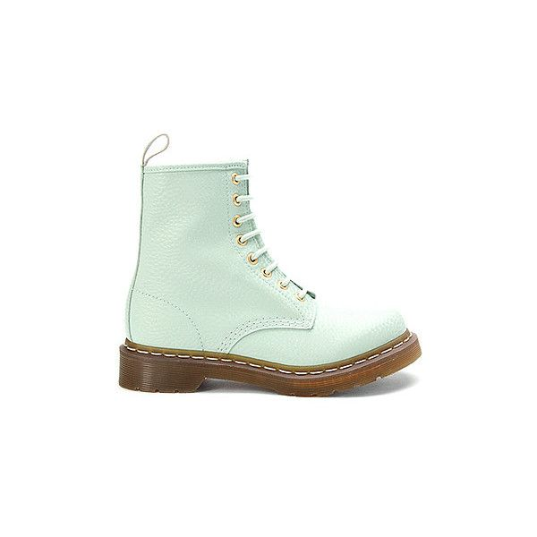 Dr Martens 1460 W 8 Eye Pastel Boot | Women's - Pastel Mint QQ Pearl -... ($120) ❤ liked on Polyvore featuring shoes, boots, ankle booties, botas, footwear, mint shoes, pearl shoes, pastel boots, mint boots and dr martens footwear