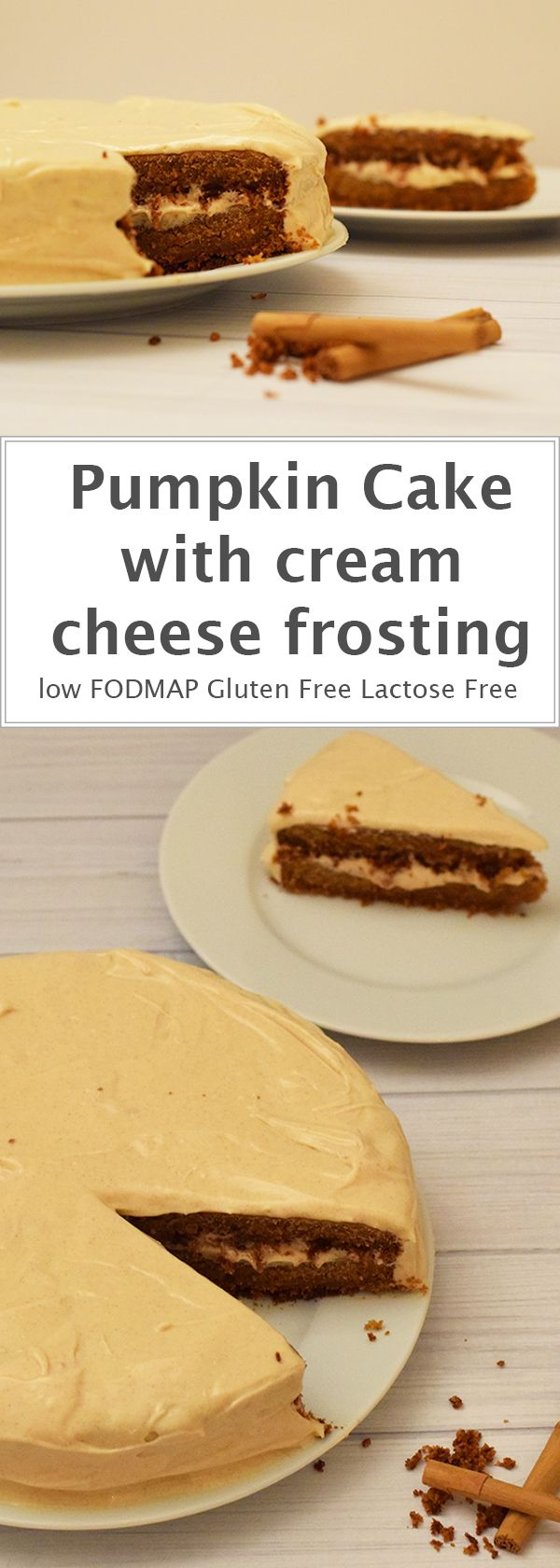 A two-layer pumpkin cake with cream cheese frosting. Low FODMAP, gluten-free and lactose-free.