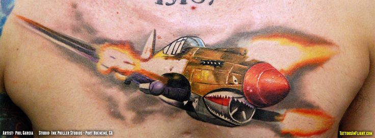 P-40 Perfection: Beautiful Back Tattoo of the Warhawk
