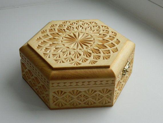 Flower of the Soul hand carved wooden box.  *Shipping cost is already included in the price.*  Box material: linden (basswood).  Finish: Danish oil, box is lined with the cotton fabric.  Technique: chip carving.  Box sizes: Length: 17,2 cm (6,77), width: 14,9 cm (5,87), height: 6,2 cm (2,44).  Recommendation for the care: dust in the depth of carving can be removed with the help of artistic brush, and with a soft, dry cloth from the surface.