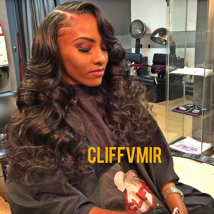 Side part sew in with curls using my raw Indian #cliffvmir ...