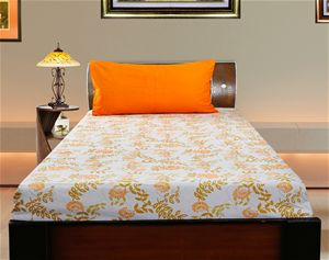 Orange Floral Cotton Printed Single Bedsheet W/ Pillow Cover From Dekor  World. ComforterBeddingBed Sheets OnlinePillow ...