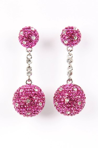 Pretty Pink Crystal Ball Earrings
