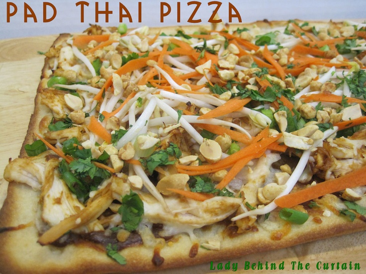 Pad Thai Pizza- peanut butter , chili sauce, teriyaki, carrots, bean sprouts, cilantro , green onion