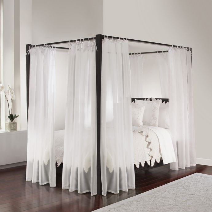 Tie Sheer Bed Canopy Curtain Set In White Girls Bed Canopy Canopy Bed Curtains Bed Drapes