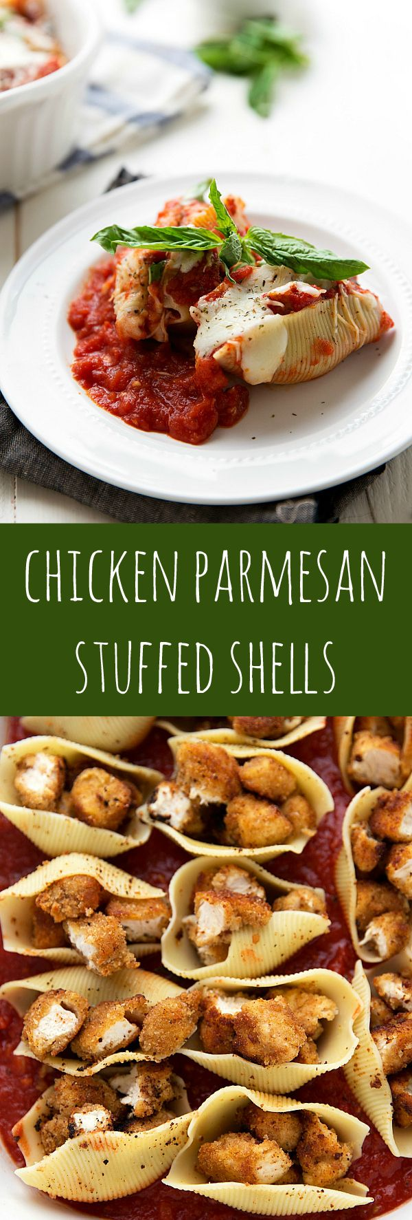 Chicken Parmesan Stuffed Shells - The best way to enjoy chicken parmesan! In stuffed shells and smothered with a delicious marinara sauce