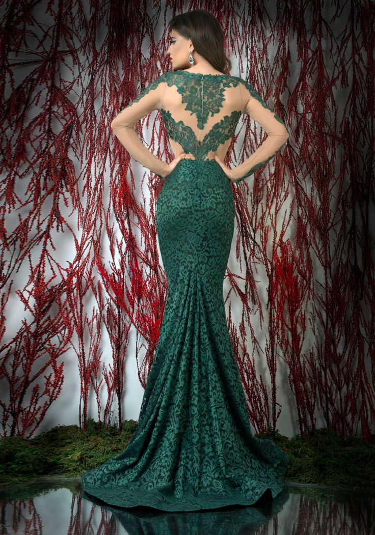 Nude tulle and green lace mermaid evening dress with long sleeves and train ♥   Shop your style online or book your appointment in a BIEN SAVVY store: Bucuresti: office@biensavvy.ro / +40757 370 108 Constanta: constanta@biensavvy.ro / +40757 825 185 Brasov brasov@biensavvy.ro / +40757 415 563
