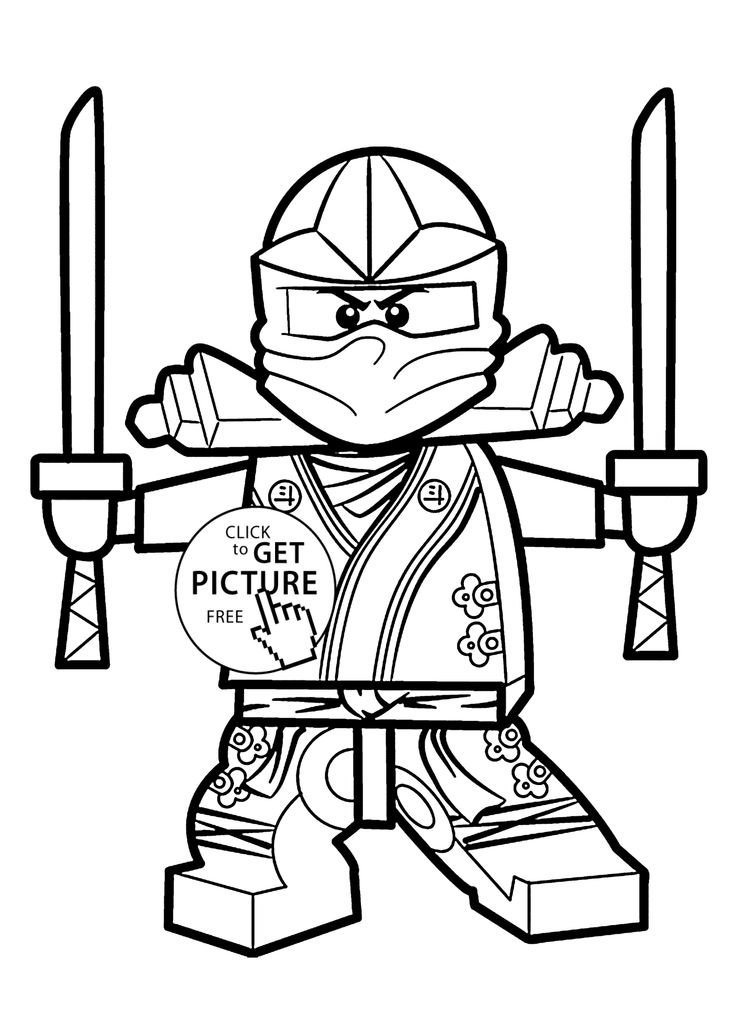 Green Ninja coloring pages for kids, printable free