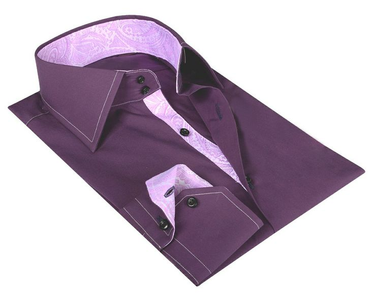 Purple / Pink paisley Cotton Shirt  100% Italian cotton fabric  Made in Italy  Straight fit (slim fit optional)