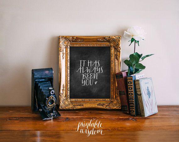 Citer impression, imprimable affiche de décor de mur d'art, d'amour inspirée, la typographie numérique, il vous a toujours été, crèche anniversaire de mariage
