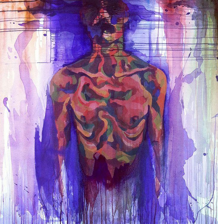 Anorexia 2 Acrílico sobre lienzo | Acrylic on canvas 100 x 100 cm | Héctor Torres |  #paint #painting #pintura #body #cuerpo #nude #desnudo #arte #art