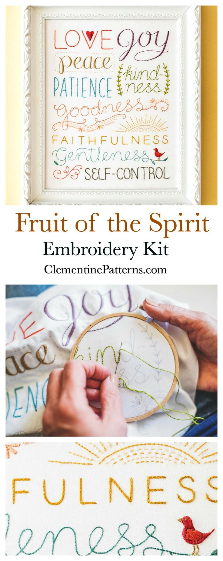 Fruit of the Spirit Embroidery Kit - contains all you need to complete embroidery. Pre-printed pattern on cotton, threads, instruction sheet, stitch guide, hoop, needle, and needle book. Modern embroidery. Sewing kits. Embroidery patterns. Embroidery kits. Clementine Patterns