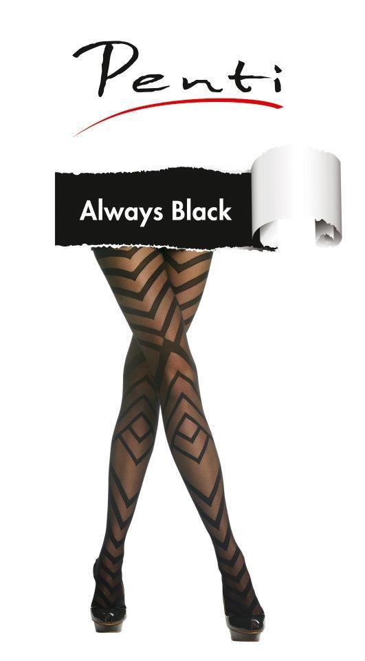 """""""Always Black"""" siyahın hakimiyetine adanmış, çorapta görünmesine alışık olunmayan farklı teknikler kullanılarak tasarlanmış bir koleksiyon. Küçük siyah bir elbise ve siyah topuklu ayakkabılarla """"Always Black!"""""""